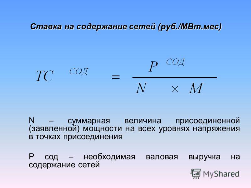 Ставка на содержание сетей (руб./МВт.мес) N – суммарная величина присоединенной (заявленной) мощности на всех уровнях напряжения в точках присоединения P сод – необходимая валовая выручка на содержание сетей