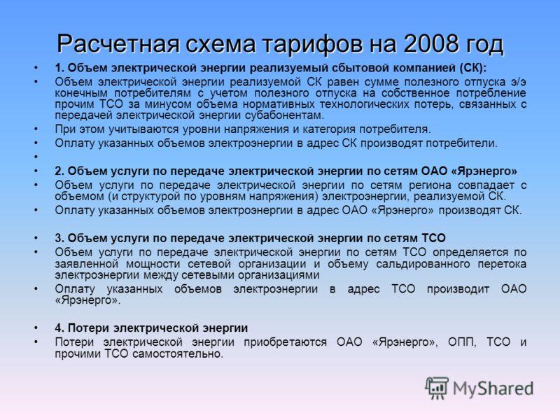 Расчетная схема тарифов на 2008 год 1. Объем электрической энергии реализуемый сбытовой компанией (СК): Объем электрической энергии реализуемой СК равен сумме полезного отпуска э/э конечным потребителям с учетом полезного отпуска на собственное потре