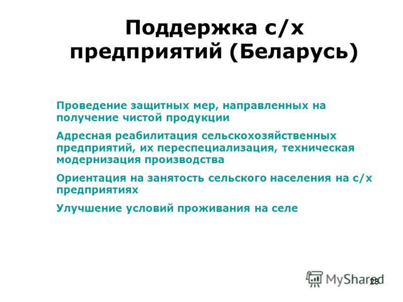 28 Поддержка с/х предприятий (Беларусь) Проведение защитных мер, направленных на получение чистой продукции Адресная реабилитация сельскохозяйственных