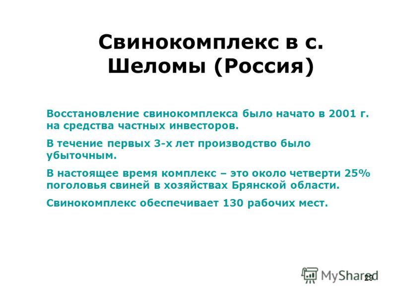 29 Свинокомплекс в с. Шеломы (Россия) Восстановление свинокомплекса было начато в 2001 г. на средства частных инвесторов. В течение первых 3-х лет производство было убыточным. В настоящее время комплекс – это около четверти 25% поголовья свиней в хоз