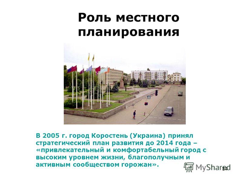 34 Роль местного планирования В 2005 г. город Коростень (Украина) принял стратегический план развития до 2014 года – «привлекательный и комфортабельны