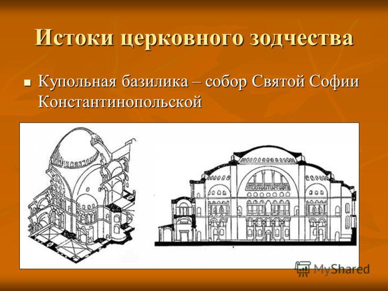 Истоки церковного зодчества Купольная базилика – собор Святой Софии Константинопольской Купольная базилика – собор Святой Софии Константинопольской