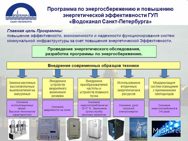 Программа по энергосбережению и повышению энергетической эффективности ГУП «Водоканал Санкт-Петербурга» Главная цель Программы: повышение эффективности, экономичности и надежности функционирования систем коммунальной инфраструктуры за счет повышения