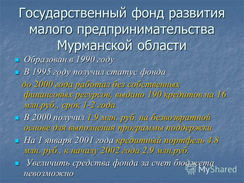 Государственный фонд развития малого предпринимательства Мурманской области Образован в 1990 году Образован в 1990 году В 1995 году получил статус фонда В 1995 году получил статус фонда до 2000 года работал без собственных финансовых ресурсов, выдано