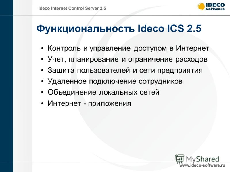 Функциональность Ideco ICS 2.5 Контроль и управление доступом в Интернет Учет, планирование и ограничение расходов Защита пользователей и сети предприятия Удаленное подключение сотрудников Объединение локальных сетей Интернет - приложения