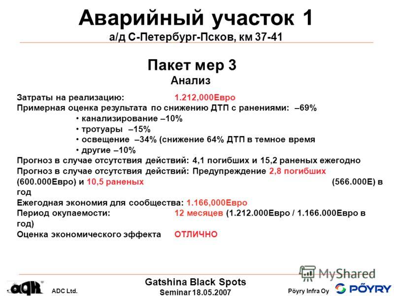 Gatshina Black Spots Seminar 18.05.2007 ADC Ltd.Pöyry Infra Oy Аварийный участок 1 а/д С-Петербург-Псков, км 37-41 Пакет мер 3 Анализ Затраты на реализацию: 1.212,000Eвро Примерная оценка результата по снижению ДТП с ранениями: –69% канализирование –