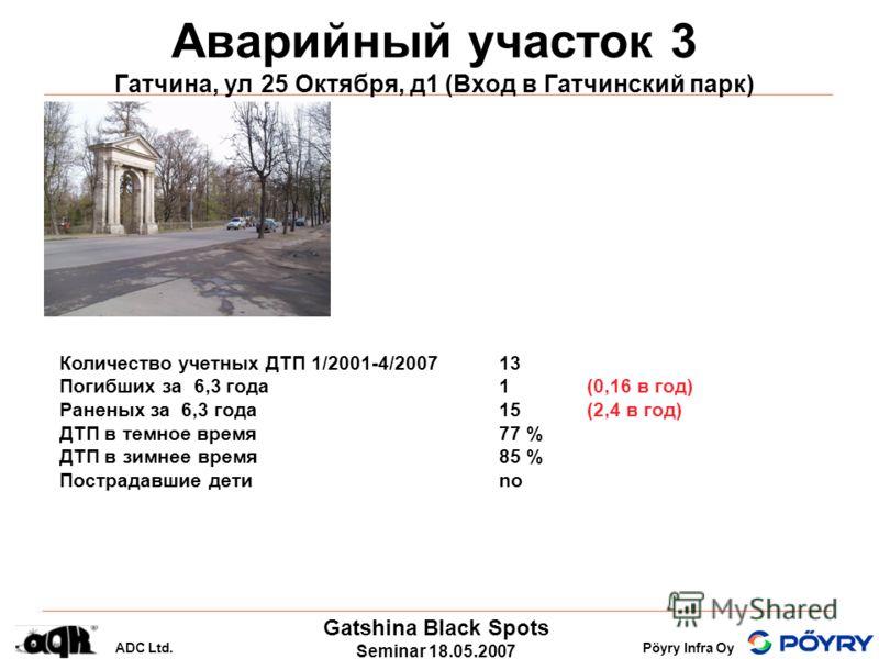 Gatshina Black Spots Seminar 18.05.2007 ADC Ltd.Pöyry Infra Oy Аварийный участок 3 Гатчина, ул 25 Октября, д1 (Вход в Гатчинский парк) Количество учетных ДТП 1/2001-4/200713 Погибших за 6,3 года 1(0,16 в год) Раненых за 6,3 года 15 (2,4 в год) ДТП в