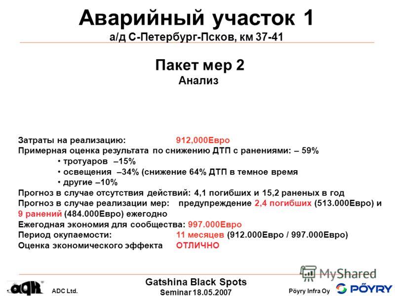 Gatshina Black Spots Seminar 18.05.2007 ADC Ltd.Pöyry Infra Oy Аварийный участок 1 а/д С-Петербург-Псков, км 37-41 Пакет мер 2 Анализ Затраты на реализацию: 912,000Eвро Примерная оценка результата по снижению ДТП с ранениями: – 59% тротуаров –15% осв