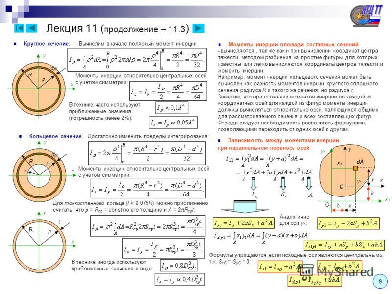 9 Круглое сечение: Лекция 11 ( продолжение – 11.3 ) d R x y Вычислим вначале полярный момент инерции: Моменты инерции относительно центральных осей с учетом симметрии: В технике часто используют приближенные значения (погрешность менее 2%): Кольцевое