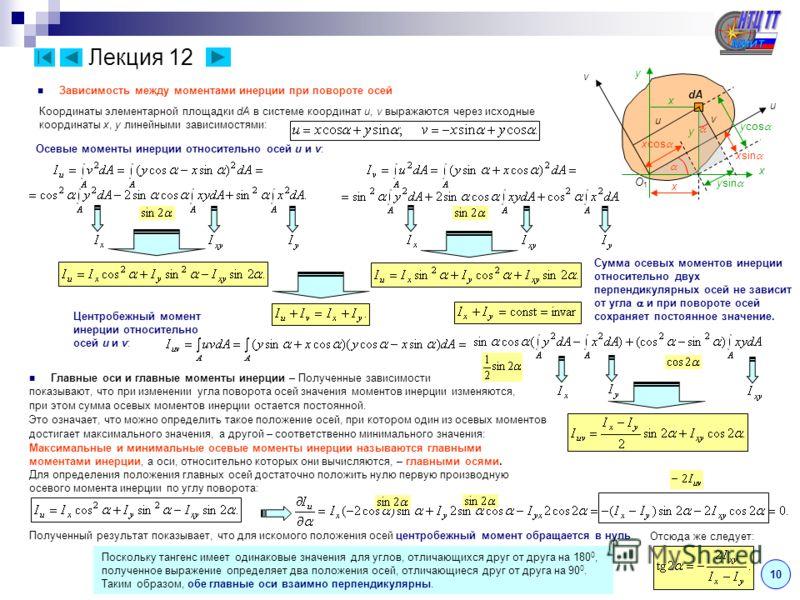 Лекция 12 10 Зависимость между моментами инерции при повороте осей x u v dA O1O1 y v u x y x xcos xsin ysin ycos Координаты элементарной площадки dA в системе координат u, v выражаются через исходные координаты x, y линейными зависимостями: Осевые мо