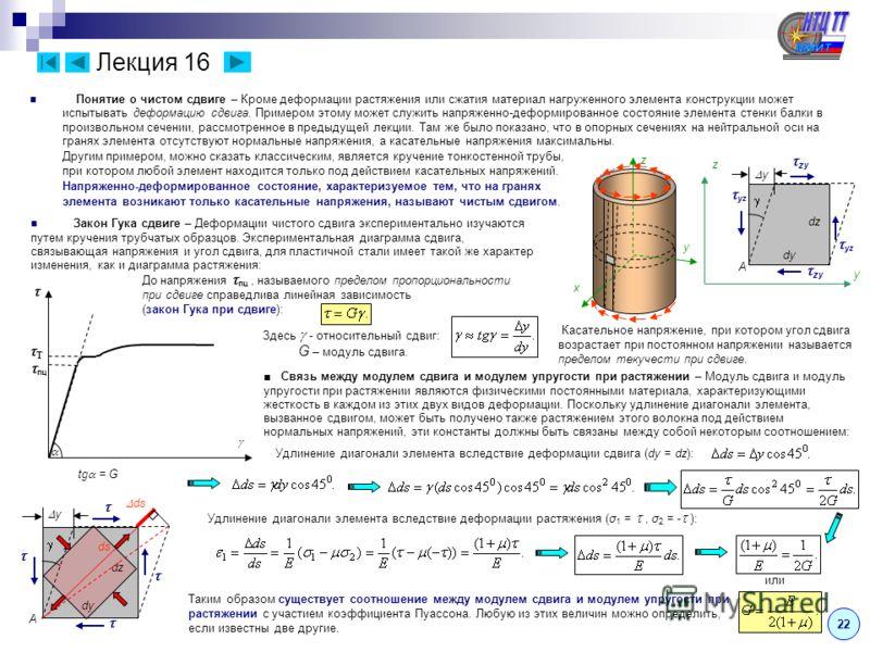 Лекция 16 Понятие о чистом сдвиге – Кроме деформации растяжения или сжатия материал нагруженного элемента конструкции может испытывать деформацию сдвига. Примером этому может служить напряженно-деформированное состояние элемента стенки балки в произв
