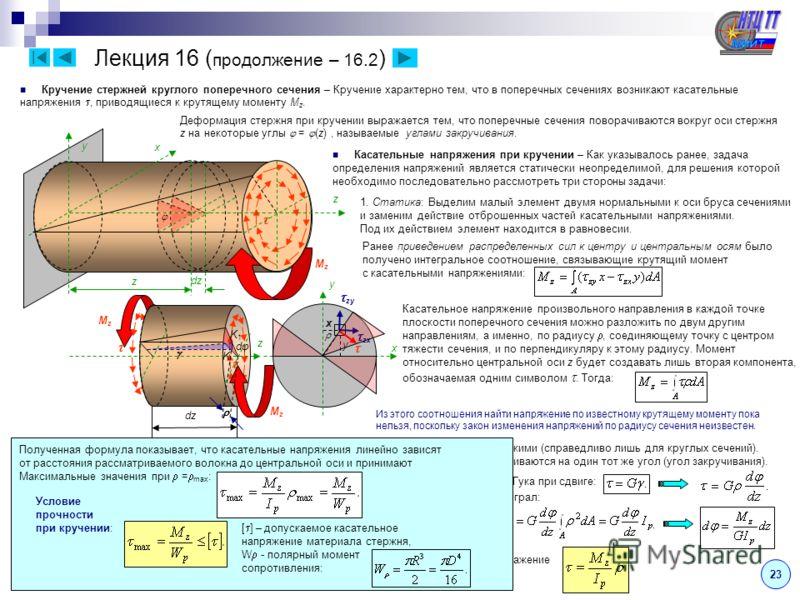 23 Лекция 16 ( продолжение – 16.2 ) Кручение стержней круглого поперечного сечения – Кручение характерно тем, что в поперечных сечениях возникают касательные напряжения, приводящиеся к крутящему моменту M z. z x y MzMz Деформация стержня при кручении