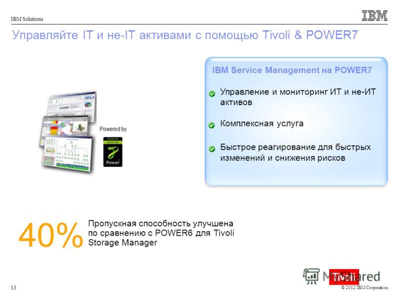 © 2012 IBM Corporation IBM Solutions 13 Управляйте IT и не-IT активами с помощью Tivoli & POWER7 IBM Service Management на POWER7 Управление и мониторинг ИТ и не-ИТ активов Комплексная услуга Быстрое реагирование для быстрых изменений и снижения риск