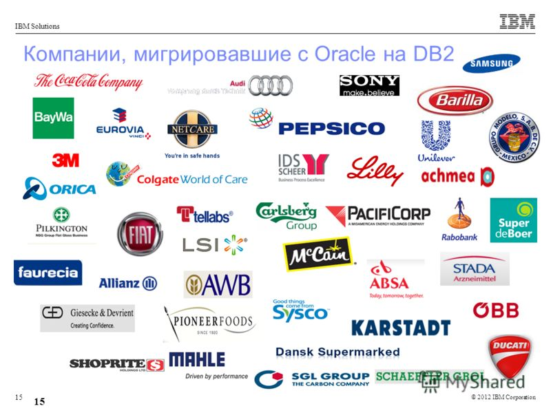 © 2012 IBM Corporation IBM Solutions 15 Компании, мигрировавшие с Oracle на DB2