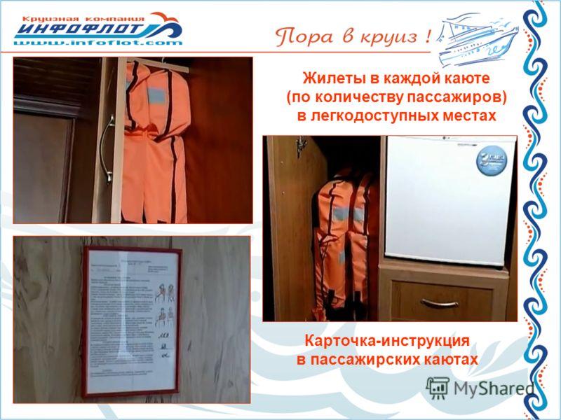 Жилеты в каждой каюте (по количеству пассажиров) в легкодоступных местах Карточка-инструкция в пассажирских каютах