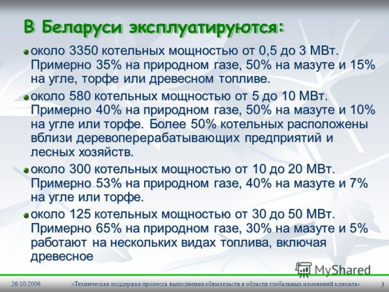 26/10/2006 «Техническая поддержка процесса выполнения обязательств в области глобальных изменений климата» 3 В Беларуси эксплуатируются: около 3350 котельных мощностью от 0,5 до 3 МВт. Примерно 35% на природном газе, 50% на мазуте и 15% на угле, торф