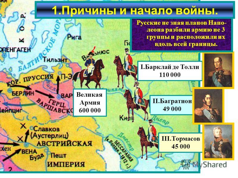 Летом 1812 г. французская ар-мия численностью 600 000 человек сосредоточилась на территории Польши. 1.Причины и начало войны. Великая Армия 600 000 II.Багратион 49 000 I.Барклай де Толли 110 000 III.Тормасов 45 000 Наполеон рассчитывал в при- граничн