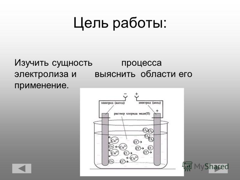 Цель работы: Изучить сущность процесса электролиза и выяснить области его применение.