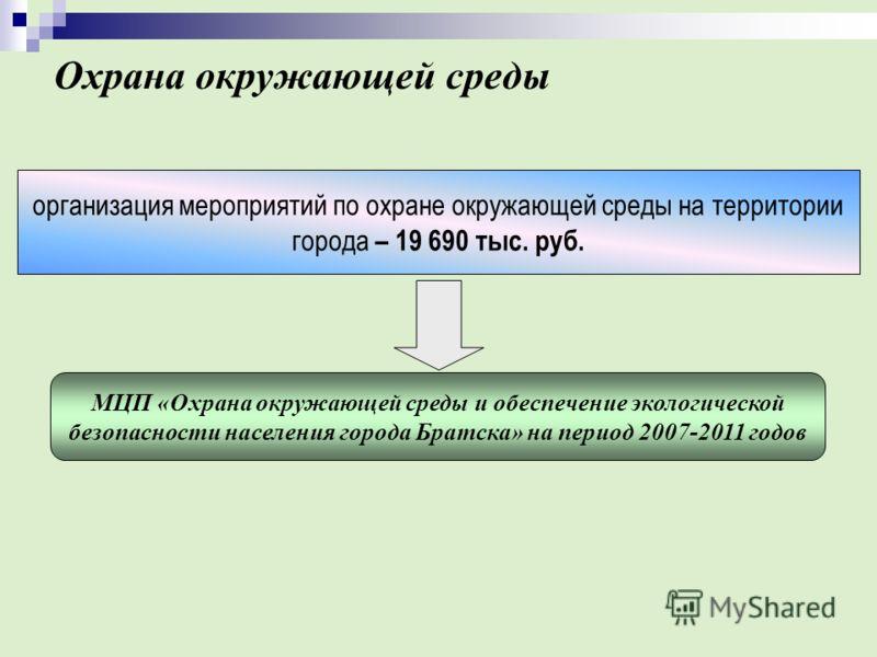 Охрана окружающей среды МЦП «Охрана окружающей среды и обеспечение экологической безопасности населения города Братска» на период 2007-2011 годов организация мероприятий по охране окружающей среды на территории города – 19 690 тыс. руб.