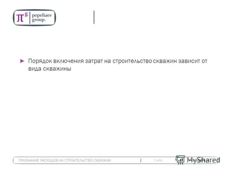 Слайд www.pgplaw.ru Порядок включения затрат на строительство скважин зависит от вида скважины ПРИЗНАНИЕ РАСХОДОВ НА СТРОИТЕЛЬСТВО СКВАЖИН