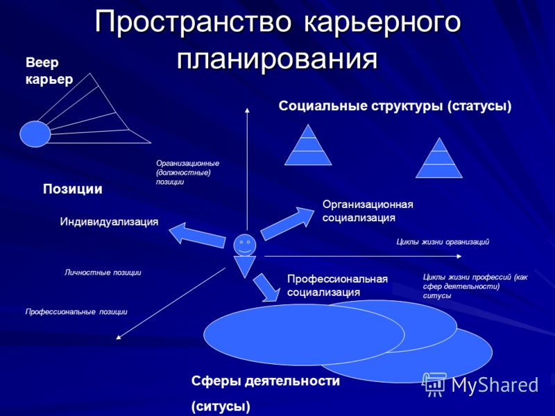 Пространство карьерного планирования Позиции Социальные структуры (статусы) Сферы деятельности (ситусы) Организационная социализация Профессиональная социализация Индивидуализация Циклы жизни профессий (как сфер деятельности) ситусы Циклы жизни орган
