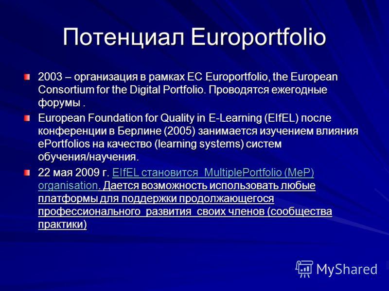 Потенциал Europortfolio 2003 – организация в рамках ЕС Europortfolio, the European Consortium for the Digital Portfolio. Проводятся ежегодные форумы. European Foundation for Quality in E-Learning (EIfEL) после конференции в Берлине (2005) занимается