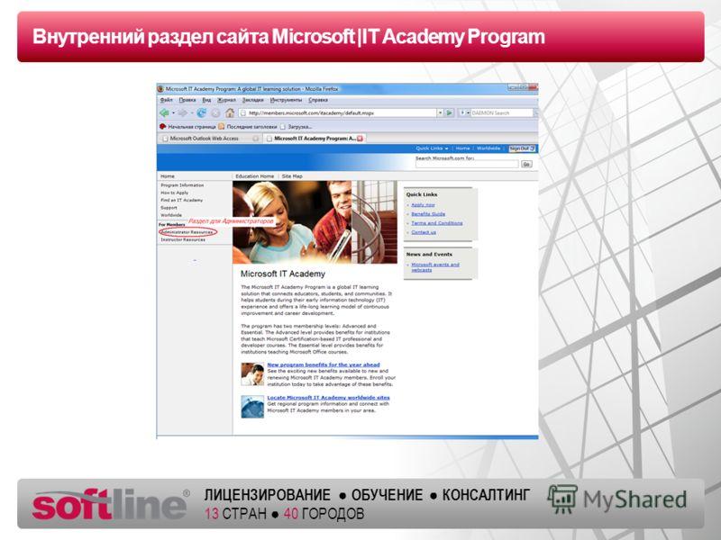 Оазец заголовка ЛИЦЕНЗИРОВАНИЕ ОБУЧЕНИЕ КОНСАЛТИНГ 13 СТРАН 40 ГОРОДОВ Внутренний раздел сайта Microsoft |IT Academy Program