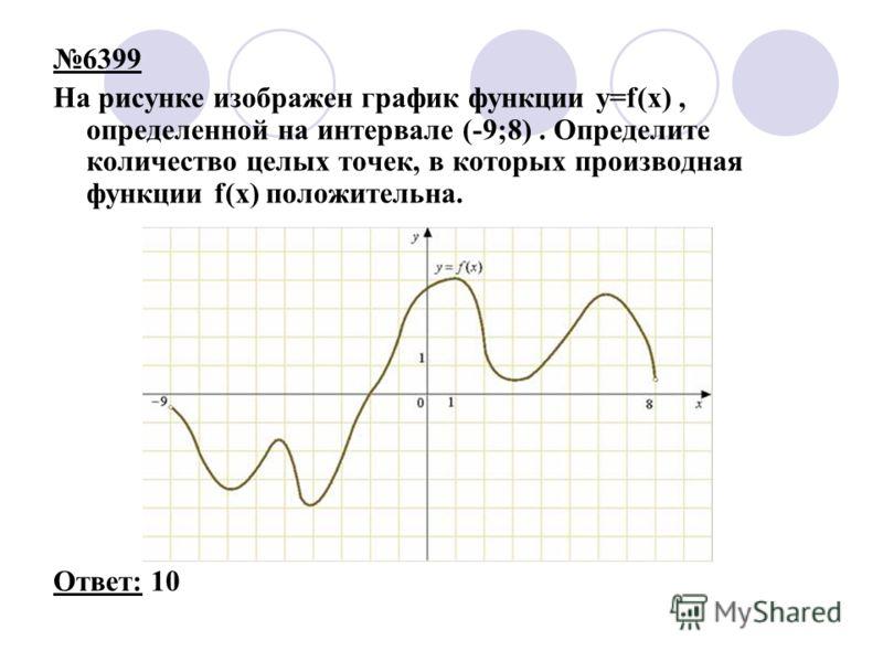 6399 На рисунке изображен график функции y=f(x), определенной на интервале (-9;8). Определите количество целых точек, в которых производная функции f(x) положительна. Ответ: 10