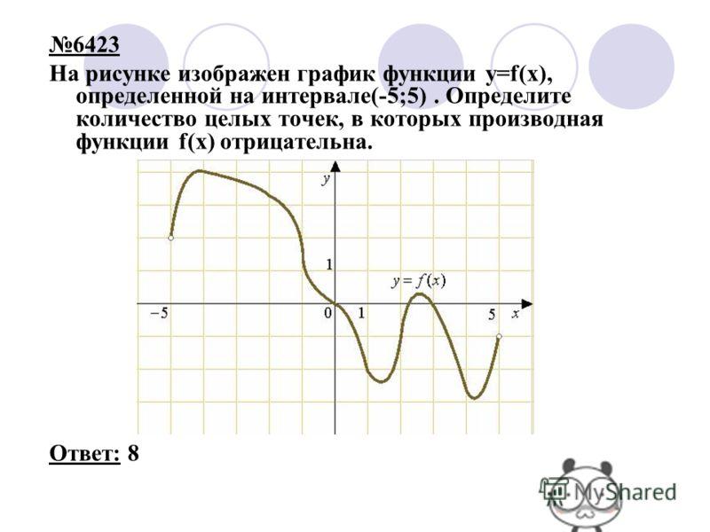 6423 На рисунке изображен график функции y=f(x), определенной на интервале(-5;5). Определите количество целых точек, в которых производная функции f(x) отрицательна. Ответ: 8
