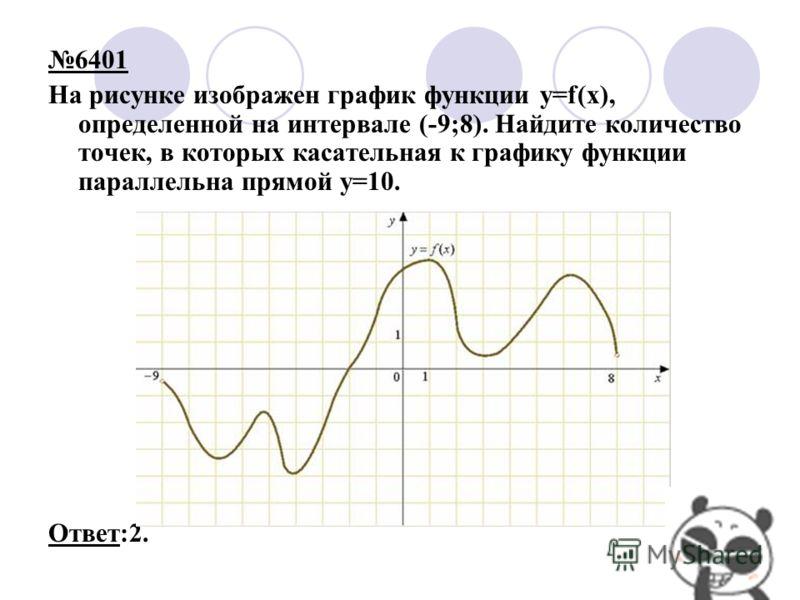 6401 На рисунке изображен график функции y=f(x), определенной на интервале (-9;8). Найдите количество точек, в которых касательная к графику функции параллельна прямой y=10. Ответ:2.