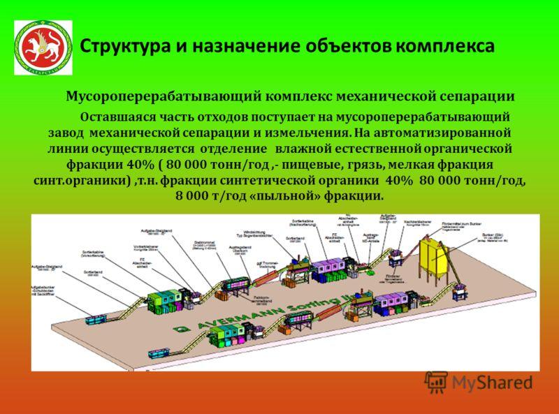 Структура и назначение объектов комплекса Мусороперерабатывающий комплекс механической сепарации Оставшаяся часть отходов поступает на мусороперерабатывающий завод механической сепарации и измельчения. На автоматизированной линии осуществляется отдел