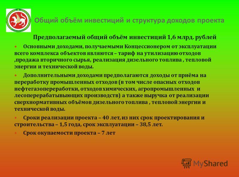 Общий объём инвестиций и структура доходов проекта Предполагаемый общий объём инвестиций 1,6 млрд. рублей Основными доходами, получаемыми Концессионером от эксплуатации всего комплекса объектов являются – тариф на утилизацию отходов, продажа вторично