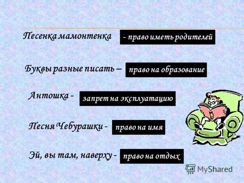 Песенка мамонтенка - право иметь родителей Буквы разные писать – право на образование Антошка - запрет на эксплуатацию Песня Чебурашки - право на имя Эй, вы там, наверху - право на отдых