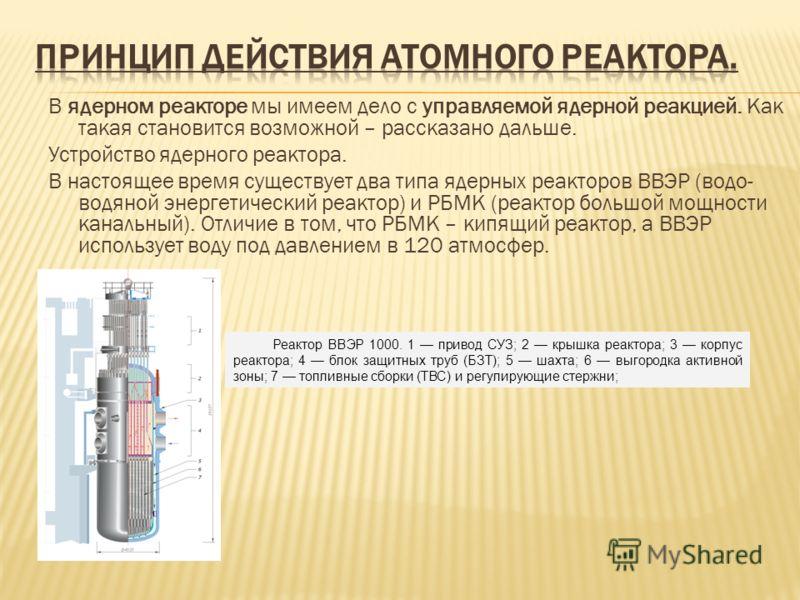 В ядерном реакторе мы имеем дело с управляемой ядерной реакцией. Как такая становится возможной – рассказано дальше. Устройство ядерного реактора. В настоящее время существует два типа ядерных реакторов ВВЭР (водо- водяной энергетический реактор) и Р