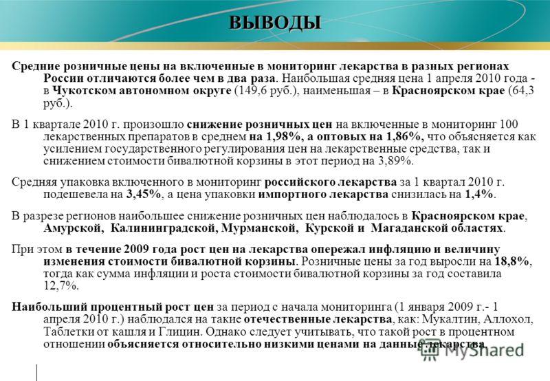 ВЫВОДЫ Средние розничные цены на включенные в мониторинг лекарства в разных регионах России отличаются более чем в два раза. Наибольшая средняя цена 1 апреля 2010 года - в Чукотском автономном округе (149,6 руб.), наименьшая – в Красноярском крае (64