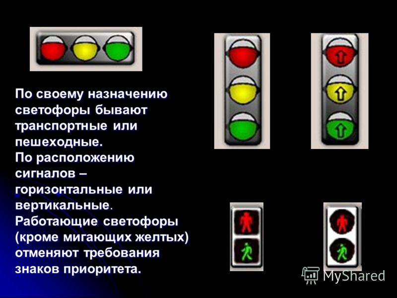 По своему назначению светофоры бывают транспортные или пешеходные. По расположению сигналов – горизонтальные или вертикальные. Работающие светофоры (кроме мигающих желтых) отменяют требования знаков приоритета.