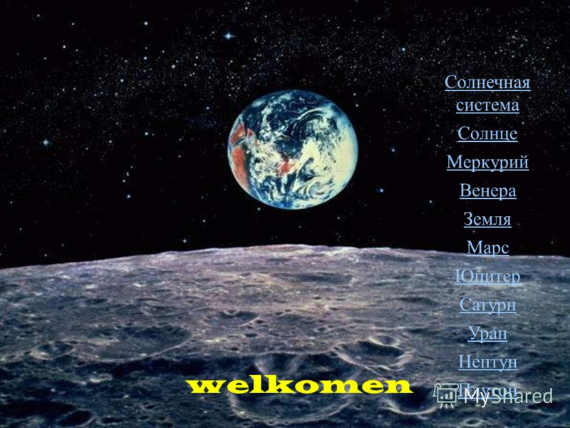 welkomen Солнечная сиcтема Солнце Меркурий Венера Земля Марс Юпитер Сатурн Уран Нептун Плутон