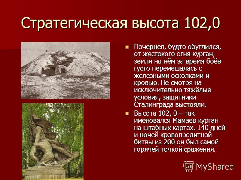 Стратегическая высота 102,0 Почернел, будто обуглился, от жестокого огня курган, земля на нём за время боёв густо перемешалась с железными осколками и кровью. Не смотря на исключительно тяжёлые условия, защитники Сталинграда выстояли. Почернел, будто
