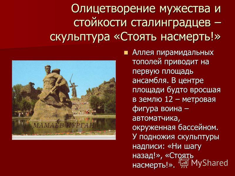 Олицетворение мужества и стойкости сталинградцев – скульптура «Стоять насмерть!» Аллея пирамидальных тополей приводит на первую площадь ансамбля. В центре площади будто вросшая в землю 12 – метровая фигура воина – автоматчика, окруженная бассейном. У
