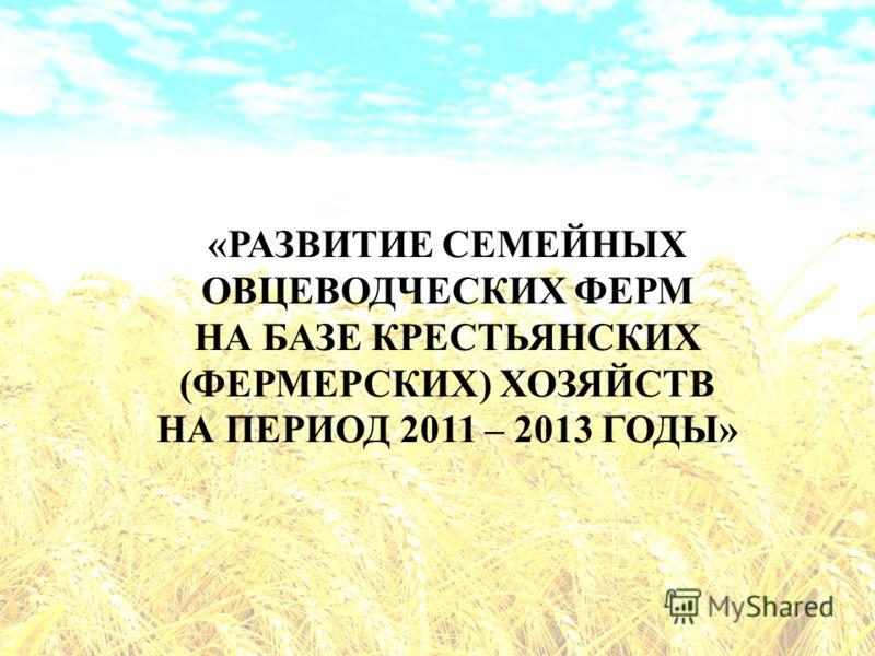 «РАЗВИТИЕ СЕМЕЙНЫХ ОВЦЕВОДЧЕСКИХ ФЕРМ НА БАЗЕ КРЕСТЬЯНСКИХ (ФЕРМЕРСКИХ) ХОЗЯЙСТВ НА ПЕРИОД 2011 – 2013 ГОДЫ»