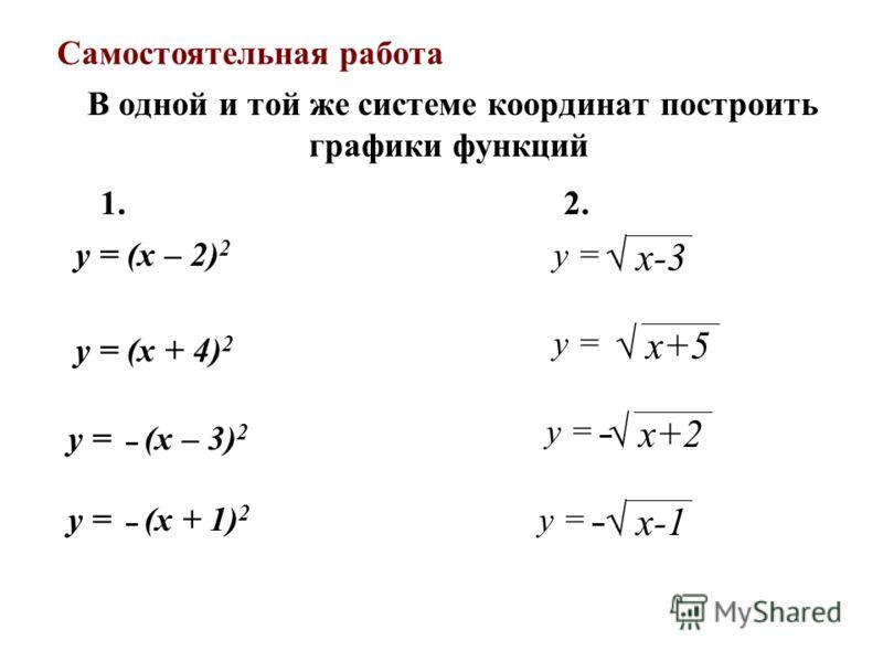 В одной и той же системе координат построить графики функций y = (x – 2) 2 1. 2. y = х-3 y = х+5 y = – х+2 y = – х-1 y = (x + 4) 2 y = – (x – 3) 2 y = – (x + 1) 2 Самостоятельная работа