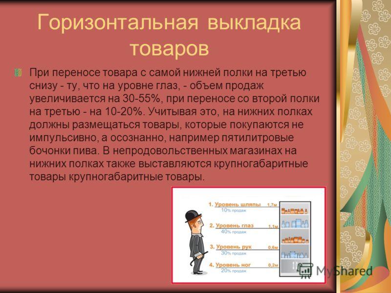 Горизонтальная выкладка товаров При переносе товара с самой нижней полки на третью снизу - ту, что на уровне глаз, - объем продаж увеличивается на 30-55%, при переносе со второй полки на третью - на 10-20%. Учитывая это, на нижних полках должны разме