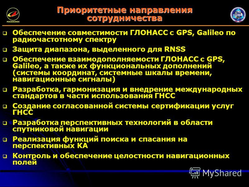 Приоритетные направления сотрудничества Обеспечение совместимости ГЛОНАСС с GPS, Galileo по радиочастотному спектру Защита диапазона, выделенного для RNSS Обеспечение взаимодополняемости ГЛОНАСС с GPS, Galileo, а также их функциональных дополнений (с