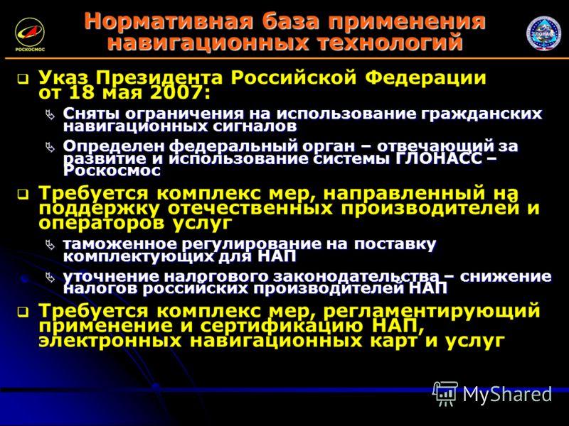 Нормативная база применения навигационных технологий Указ Президента Российской Федерации от 18 мая 2007: Сняты ограничения на использование гражданских навигационных сигналов Сняты ограничения на использование гражданских навигационных сигналов Опре