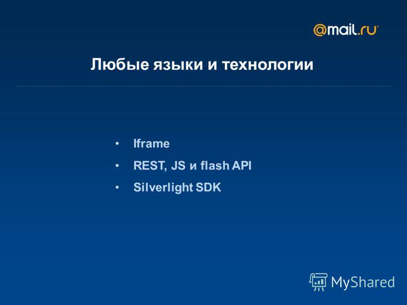 Любые языки и технологии Iframe REST, JS и flash API Silverlight SDK