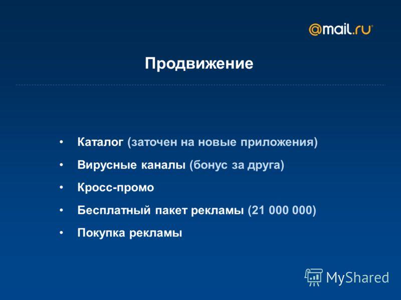 Продвижение Каталог (заточен на новые приложения) Вирусные каналы (бонус за друга) Кросс-промо Бесплатный пакет рекламы (21 000 000) Покупка рекламы