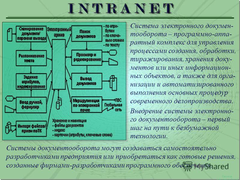 Система документооборота Система электронного докумен- тооборота – программно-аппа- ратный комплекс для управления процессами создания, обработки, тиражирования, хранения доку- ментов или иных информацион- ных объектов, а также для орга- низации и ав