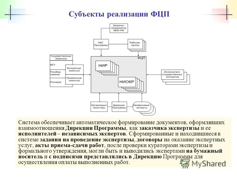 Субъекты реализации ФЦП Система обеспечивает автоматическое формирование документов, оформлявших взаимоотношения Дирекции Программы, как заказчика экспертизы и ее исполнителей – независимых экспертов. Сформированные и находившиеся в системе задания н