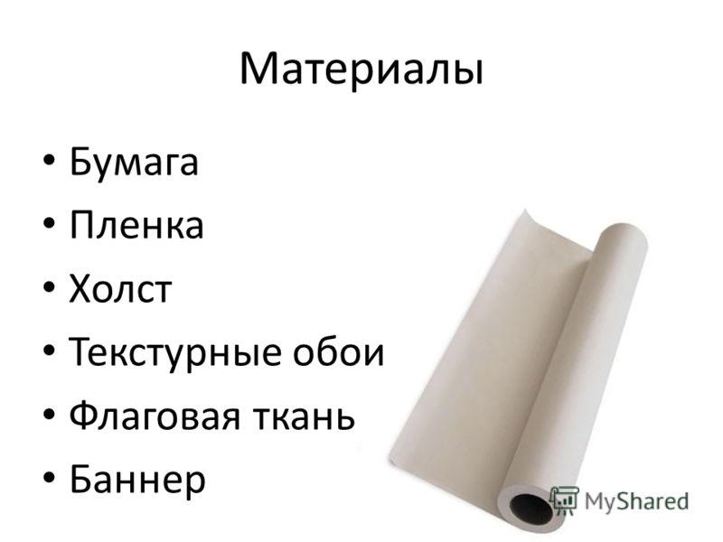 Материалы Бумага Пленка Холст Текстурные обои Флаговая ткань Баннер