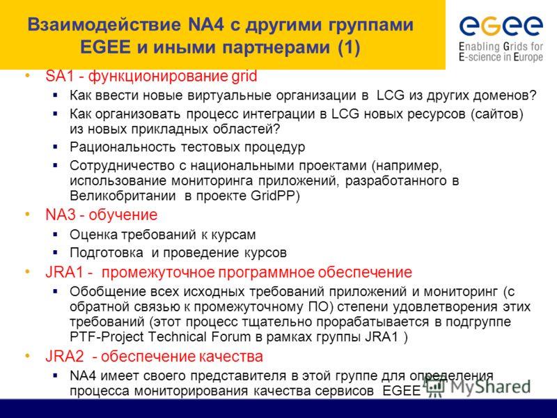 Взаимодействие NA4 с другими группами EGEE и иными партнерами (1) SA1 - функционирование grid Как ввести новые виртуальные организации в LCG из других доменов? Как организовать процесс интеграции в LCG новых ресурсов (сайтов) из новых прикладных обла